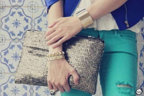 FashionCoolture 16.12.2012 Romwe  green jacket sequins clutch outfit look do dia rivets Kafé braceletes (6)