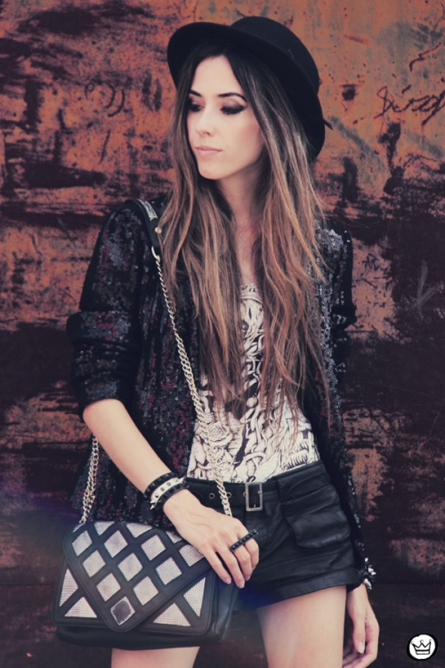 FashionCoolture 27.12.2012 black sequins blazer bag Zara shoes Asos hat Lovelly Sally (2)