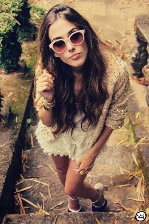 FashionCoolture 09.01.2013 look du jour sequins nude lace shorts Asos Spektre sunglasses hair ombre outfit (4)