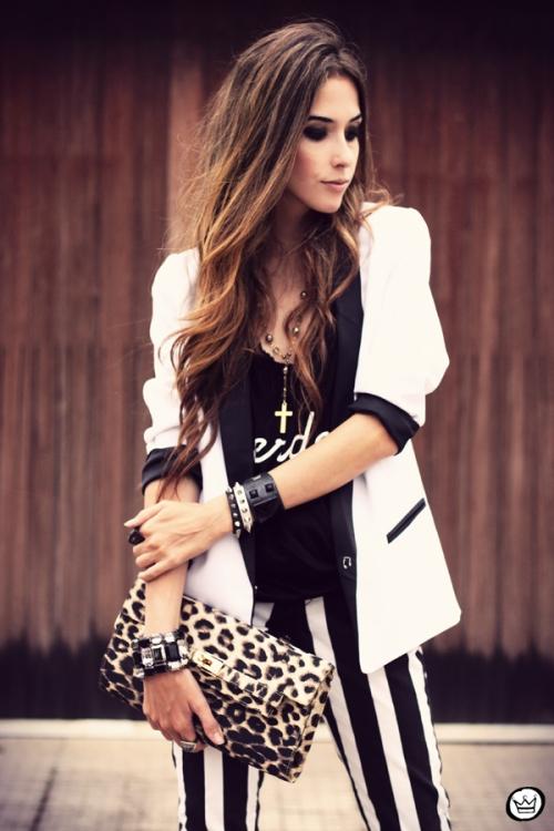 FashionCoolture - 16.03.2013 look du jour striped pants calça listrada preto e branco blazer Renner Asos Romwe  (2)