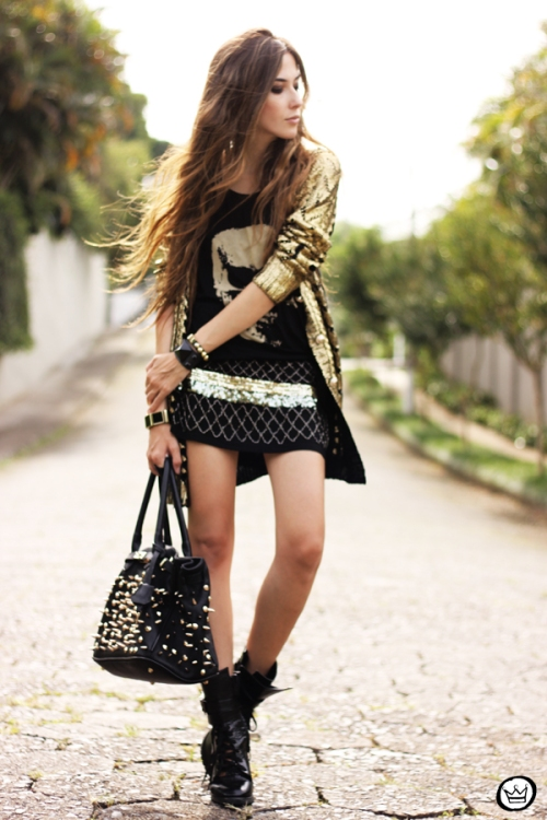 FashionCoolture - 02.04.2013 look du jour Q2 golden romwe cardigan studded (7)