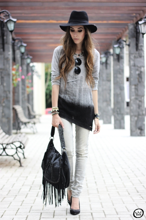 FashionCoolture - 10.04.2013 look du jour gradient grey black jeans hat fringe (1)