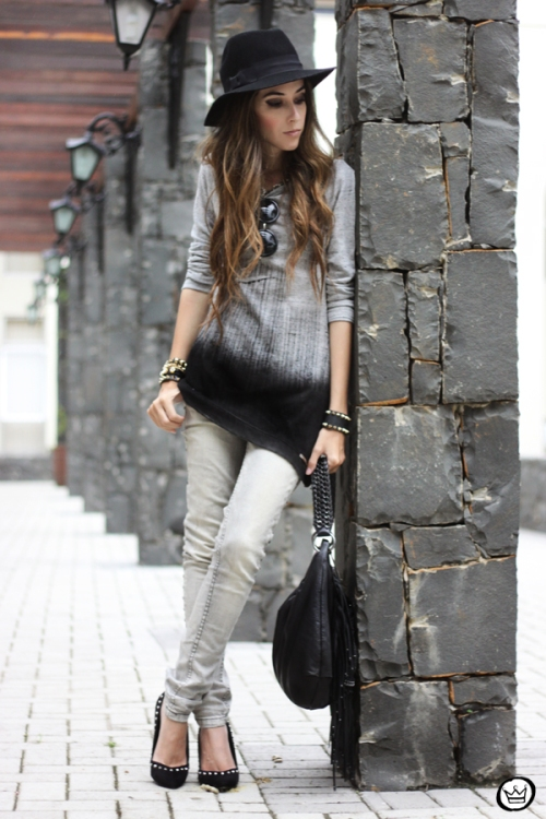 FashionCoolture - 10.04.2013 look du jour gradient grey black jeans hat fringe (7)