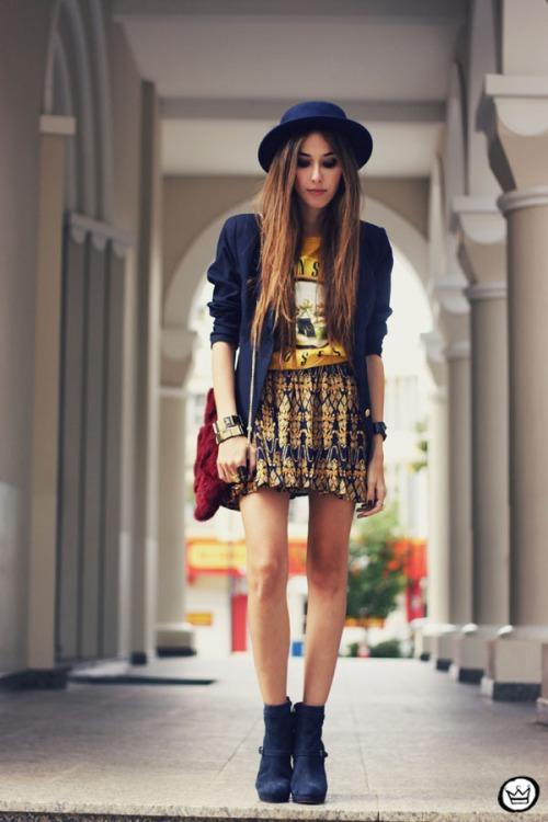 FashionCoolture - 14.04.2013 look du jour Awwdore Romwe skirt hat Asos  blazer (1 ... 32848800b34