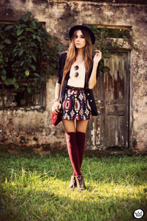 FashionCoolture - 18.04.2013 look du jour Awwdore pattern burgundy hat Asos (1)