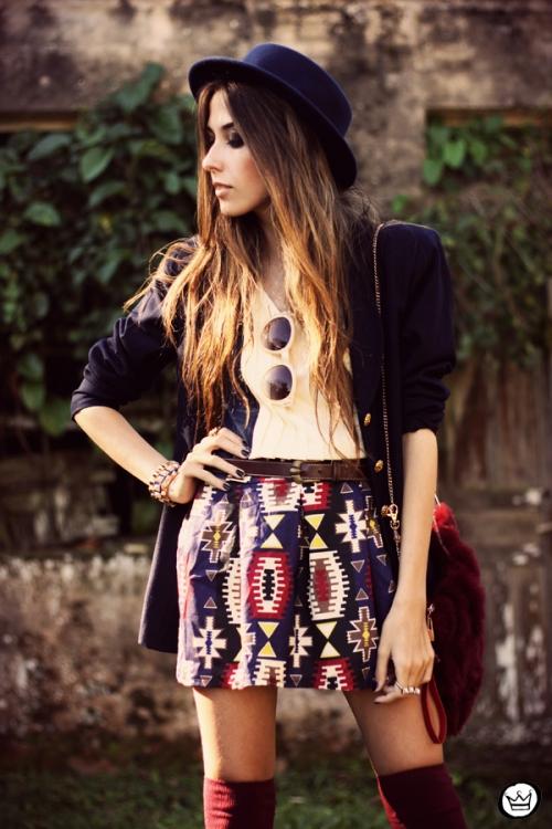 FashionCoolture - 18.04.2013 look du jour Awwdore pattern burgundy hat Asos (2)