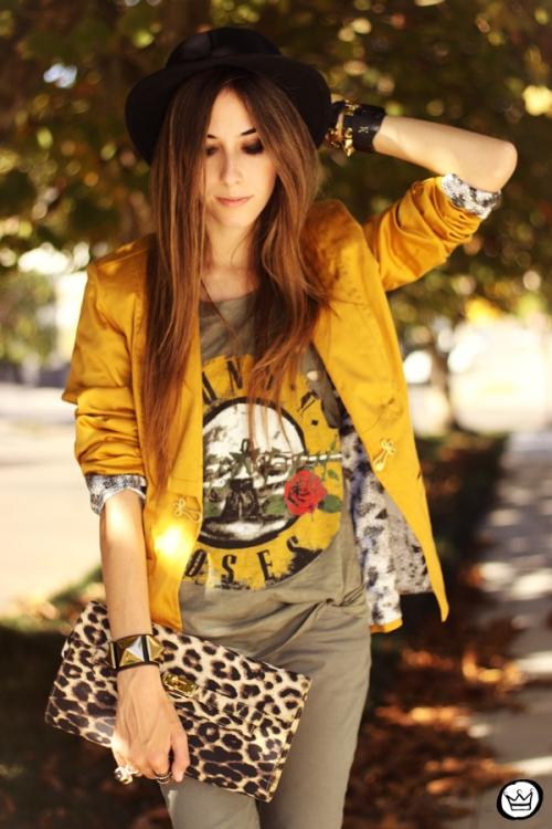 FashionCoolture - 26.04.2013 look du jour Charry green tshirt Asos leopard blzer (2)