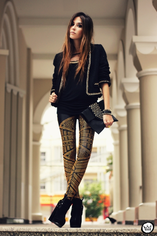 FashionCoolture - 02.05.2013 look du jour legging Labellamafia black (1)