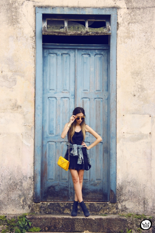 FashionCoolture - 04.05.2014 look du jour Lafe denim jacket navy blue dress yellow (5)
