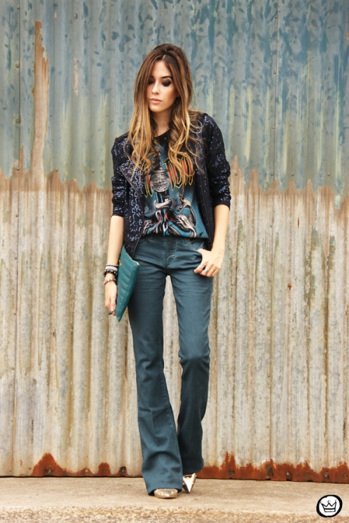 FashionCoolture - 21.05.2014 look du jour Dafiti flare jeans sequined jacket (1)