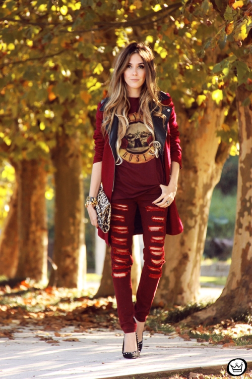 FashionCoolture - 26.05.2014 look du jour Displicent burgundy jeans rocker (1)