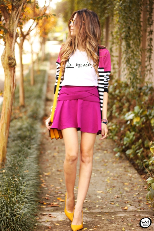 FashionCoolture - 10.06.2014 look du jour Dafiti pink skirt yellow shoes (7)