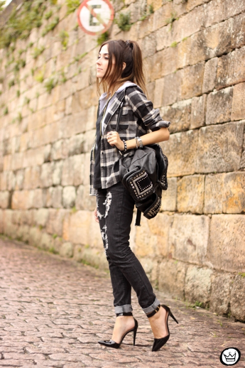 FashionCoolture - 14.03.2015 look du jour black plaid denim (1)