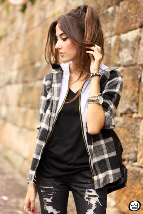 FashionCoolture - 14.03.2015 look du jour black plaid denim (2)