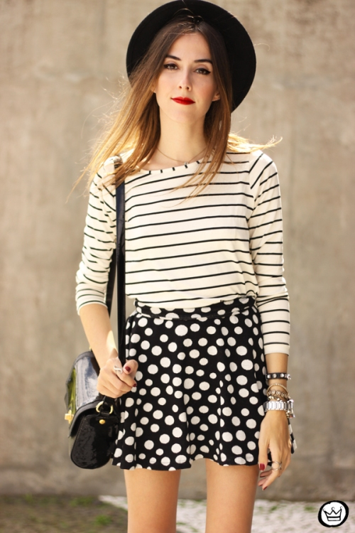 FashionCoolture - 19.03.2015 look du jour Sly Wear striped top dots skirt (2)