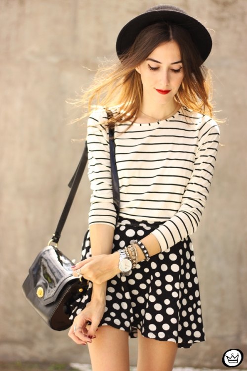 FashionCoolture - 19.03.2015 look du jour Sly Wear striped top dots skirt (4)