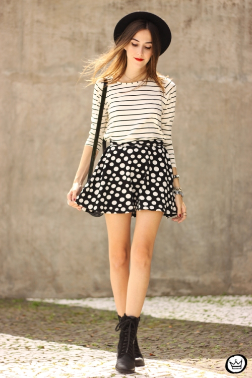 FashionCoolture - 19.03.2015 look du jour Sly Wear striped top dots skirt (7)