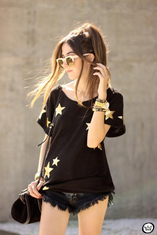 FashionCoolture - 21.03.2015 look du jour Wildfox mirrored golden sunglasses black stars (2)