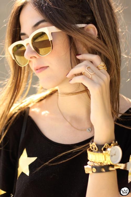 FashionCoolture - 21.03.2015 look du jour Wildfox mirrored golden sunglasses black stars (4)