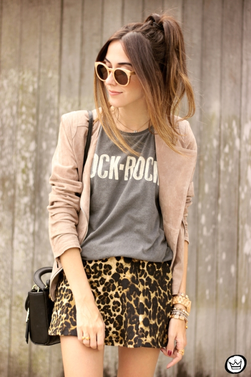 FashionCoolture - look du jour Dafiti leopard skirt leather jacket Santa Lolla boots (2)