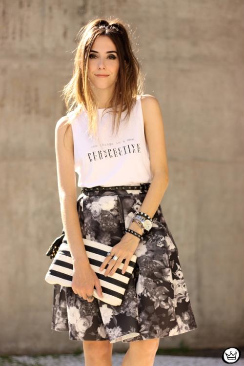 FashionCoolture - 04.04.2015 look du jour midi skirt floral blackandwhite (2)
