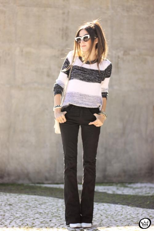 FashionCoolture - 17.04.2015 look du jour Lunender black flare striped jumper (1)