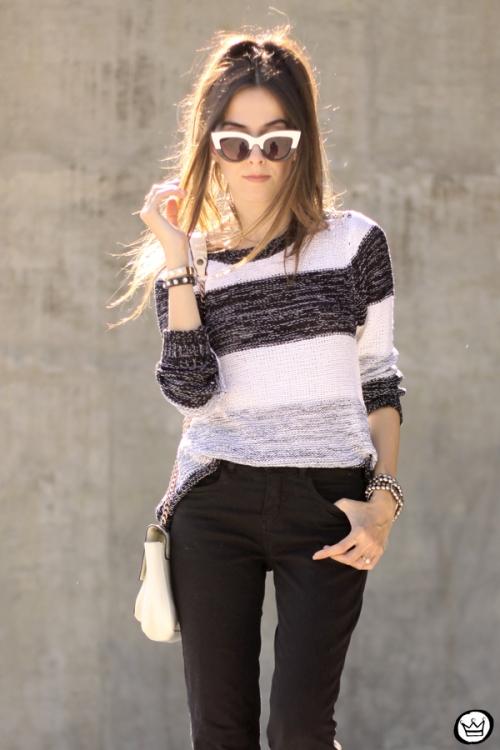FashionCoolture - 17.04.2015 look du jour Lunender black flare striped jumper (2)