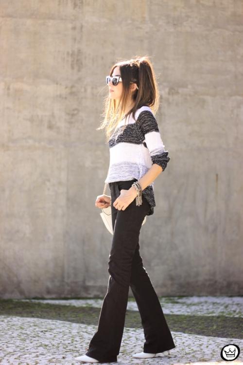 FashionCoolture - 17.04.2015 look du jour Lunender black flare striped jumper (3)