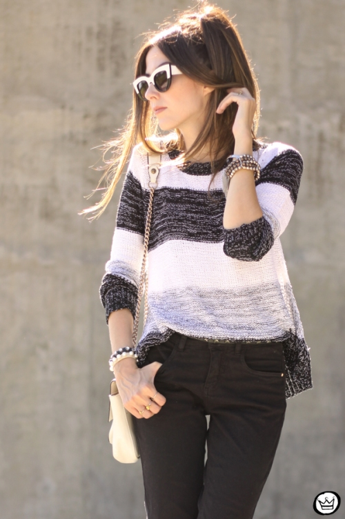 FashionCoolture - 17.04.2015 look du jour Lunender black flare striped jumper (5)
