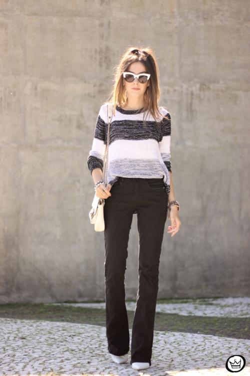 FashionCoolture - 17.04.2015 look du jour Lunender black flare striped jumper (6)